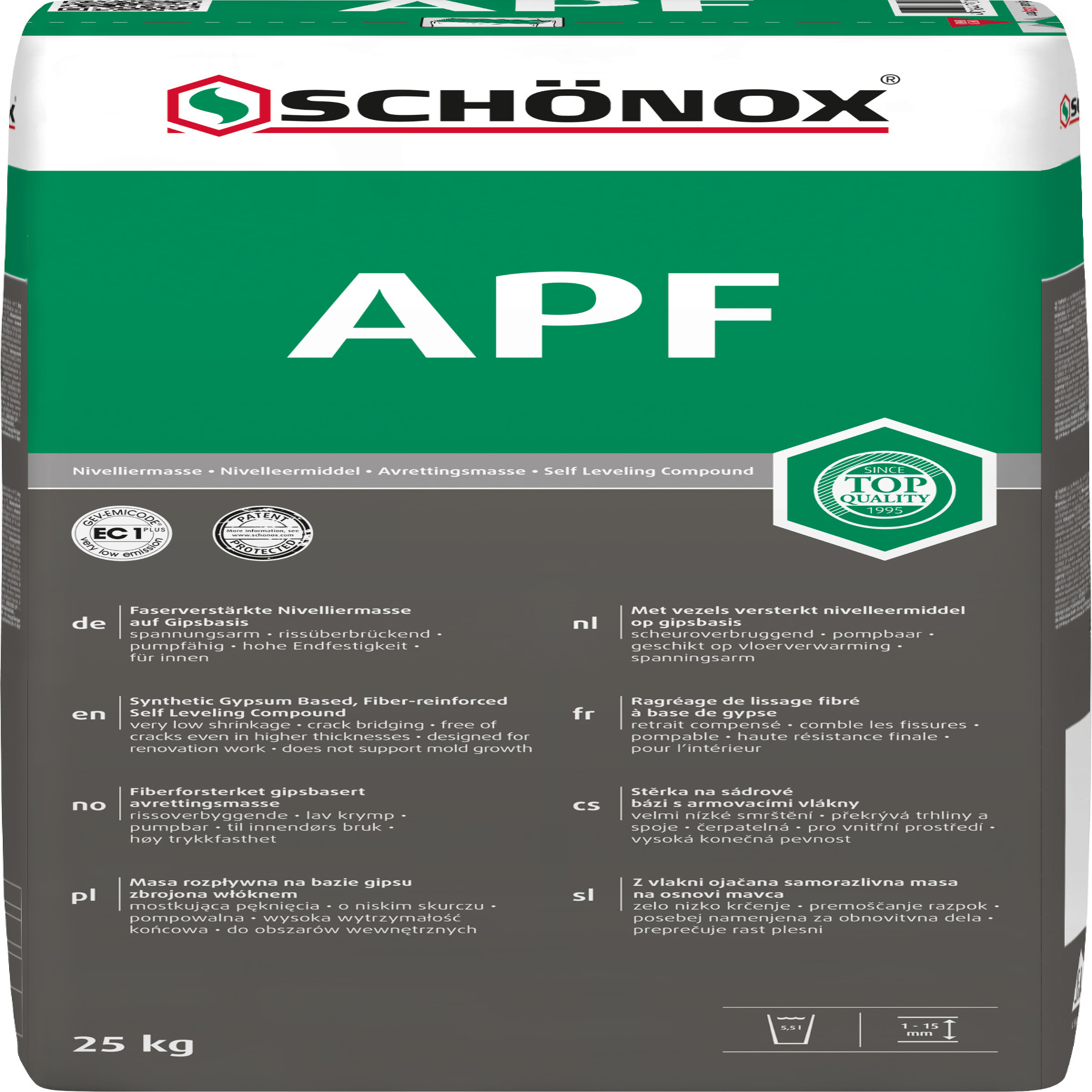 schönox apf ec1 faserarmierte gipsspachtelmasse - sack a 25 kg